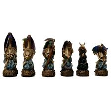 fire and ice dragons hand painted polystone chess pieces