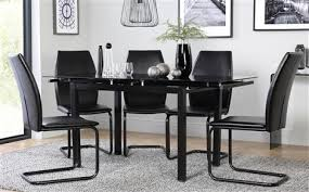 Black Glass Extending Dining Table Dining Table Black Glass Black Glass Dining Table And Six Chairs
