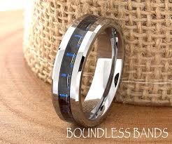 custom mens wedding bands blue carbon fiber tungsten wedding ring navy blue mens wedding