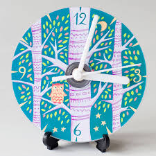 owl compact disc clock by emma randall illustration