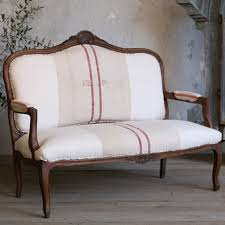 Vintage Settee Loveseat Circa 1940 One Of A Kind Vintage Settee Louis Xv Grain Sack From