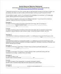 Sample Objectives On Resume by Resume Objective Example 8 Samples In Pdf Word