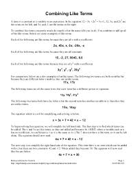 combining like terms and distributive property worksheet worksheets