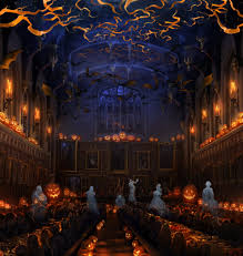 the great hall at halloween with the ghosts hp pinterest