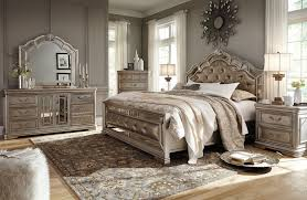 ashley birlanny upholstered bedroom set in silver best priced