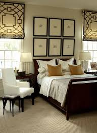 Modern Sleigh Bed Bedroom With Sleigh Bed And Modern Patterned Roman Shades