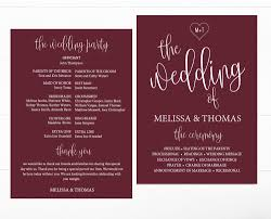 wedding program template calligraphy heart burgundy wedding program template