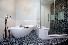 mosaic glass door brilliant huge free standing bathtub with chrome faucet and hard