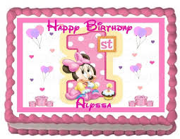 amazon com baby minnie 1st birthday edible frosting sheet cake