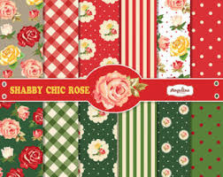 Shabby Chic Rose by 12 Shabby Chic Rose Pink And Green Digital Scrapbook Papers 4