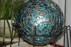 Garden Gazing Globes Custom Made Stained Glass Mosaic Gazing Ball In Van Gogh Blue With