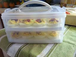 deviled egg tray snap n stack food egg 2 layer kitchen dining