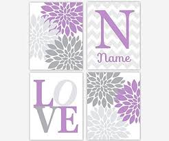 Purple Nursery Wall Decor Baby Nursery Wall Lavender Gray Purple