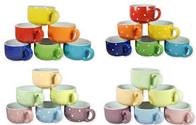6 large colored ceramic coffee soup mugs just 9 99 shipped