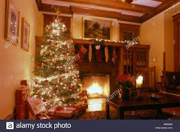 decorated christmas tree in room of arts and crafts house usa