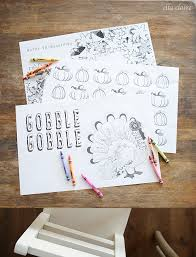 thanksgiving coloring placemats free printable ella