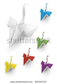paper dragons origami paper dragons birds 3d style stock vector 624347147