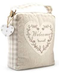 welcome shabby chic fabric doorstop amazon co uk kitchen u0026 home