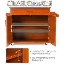 horizontal kitchen storage cabinets costway rolling kitchen island cart storage cabinet w towel