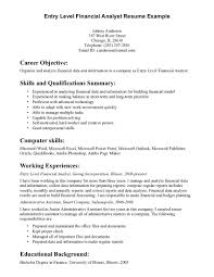 Resume Overview Samples by Simple Career Objective Entry Level Financial Analyst Resume