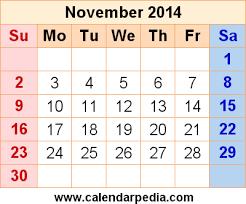blank calendar template november 2014