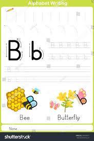 alphabet az tracing worksheet exercises kids stock vector