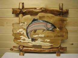 wooden wall hanging carved wooden wall hanging trout mountain log furniture