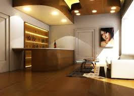 nice warm lighting modern house with bar area that can be decor