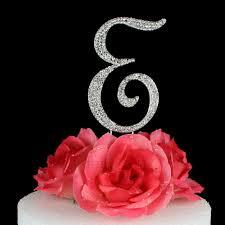 k cake topper letter e cake topper monogram 5 inch silver rhinestone