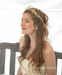 gold headpiece gold wedding crown woodland wedding headpiece leaves flowers