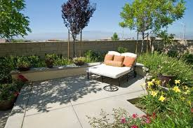 Small Concrete Backyard Ideas Small Concrete Patio Double Chaise Lounge Small Yard Landscaping