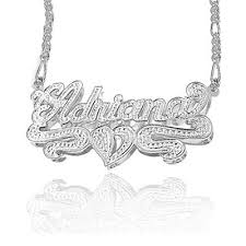 name plates jewelry 3 dimensional name plate pendant necklace in sterling silver