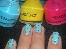 nail design tutorial blue with yellow and pink dots youtube