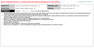 Resume Sample For Cleaner by Immersion Metal Cleaner Resume Sample