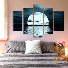 home decor wall pictures 5 panel moon picture night sea landscape painting for living room
