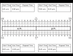 Fourth Grade Language Arts Worksheets Calculate Elapsed Time Using Elapsed Time Ruler U2013 Quarter Hours 15