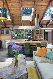 los angeles turquoise kitchen island rustic with purple flowers