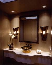 modern powder room lighting wall sconces with mosaic tile vanity