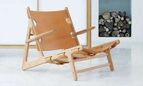 scandinavian design chaise longue leather oak the hunting by