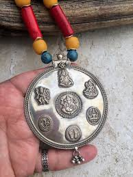 big pendant necklace images Tribal indian hindu deity god silver red bamboo coral religious JPG