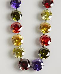 stone colored necklace images Lyst bottega veneta multi color faceted cz stone necklace in red jpeg