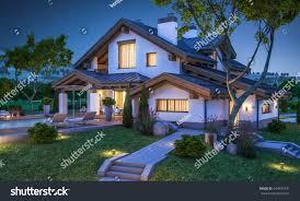 3d rendering modern cozy house chalet stock illustration 644945131