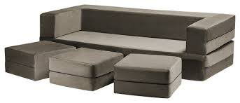 zipline convertible sofa bed and ottomans with washable cover 4