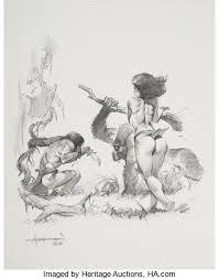 mike hoffman tarzan jane illustration original lot