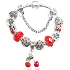 red charm bracelet images Glass beads charm bracelet designer inspired with crystals and jpg