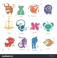 vector set funny color zodiac signs stock vector 564234850