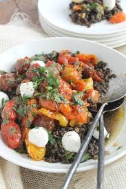 black lentils with roasted tomatoes mozzarella and pesto