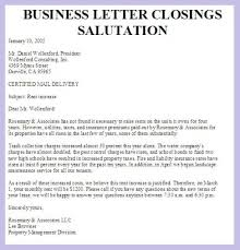 sample letter closings format