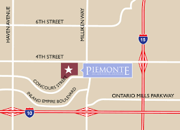 Ontario Mills Map Piemonte At Ontario Center Location