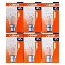 6 x osram 60w bc b22 clear classic a gls light bulbs bayonet cap